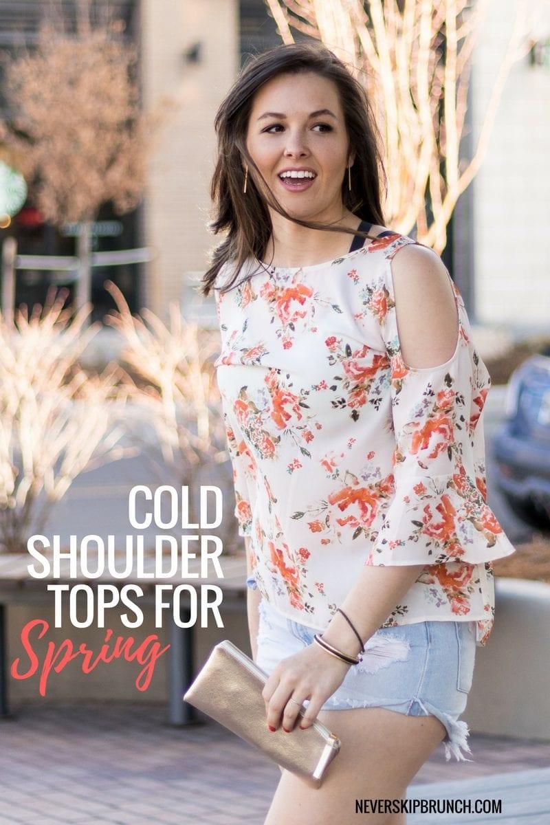 SPRING STYLE | Floral Top | Spring Cold Shoulder Top | Gold Accessories | Jean Shorts | Never Skip Brunch Blog - Denver Fashion Blogger
