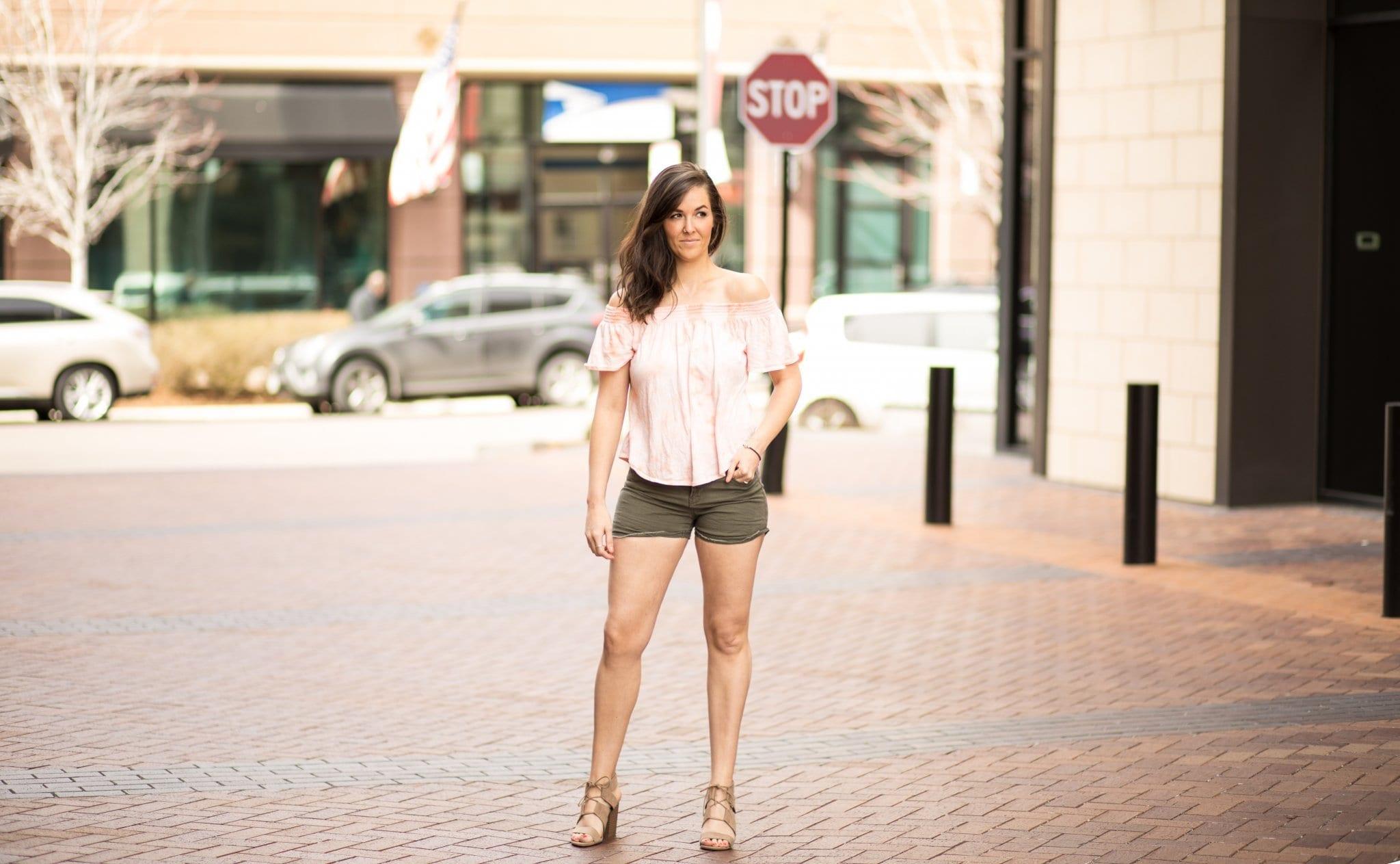 off shoulder tops for spring | spring style | pink off shoulder | army green shorts