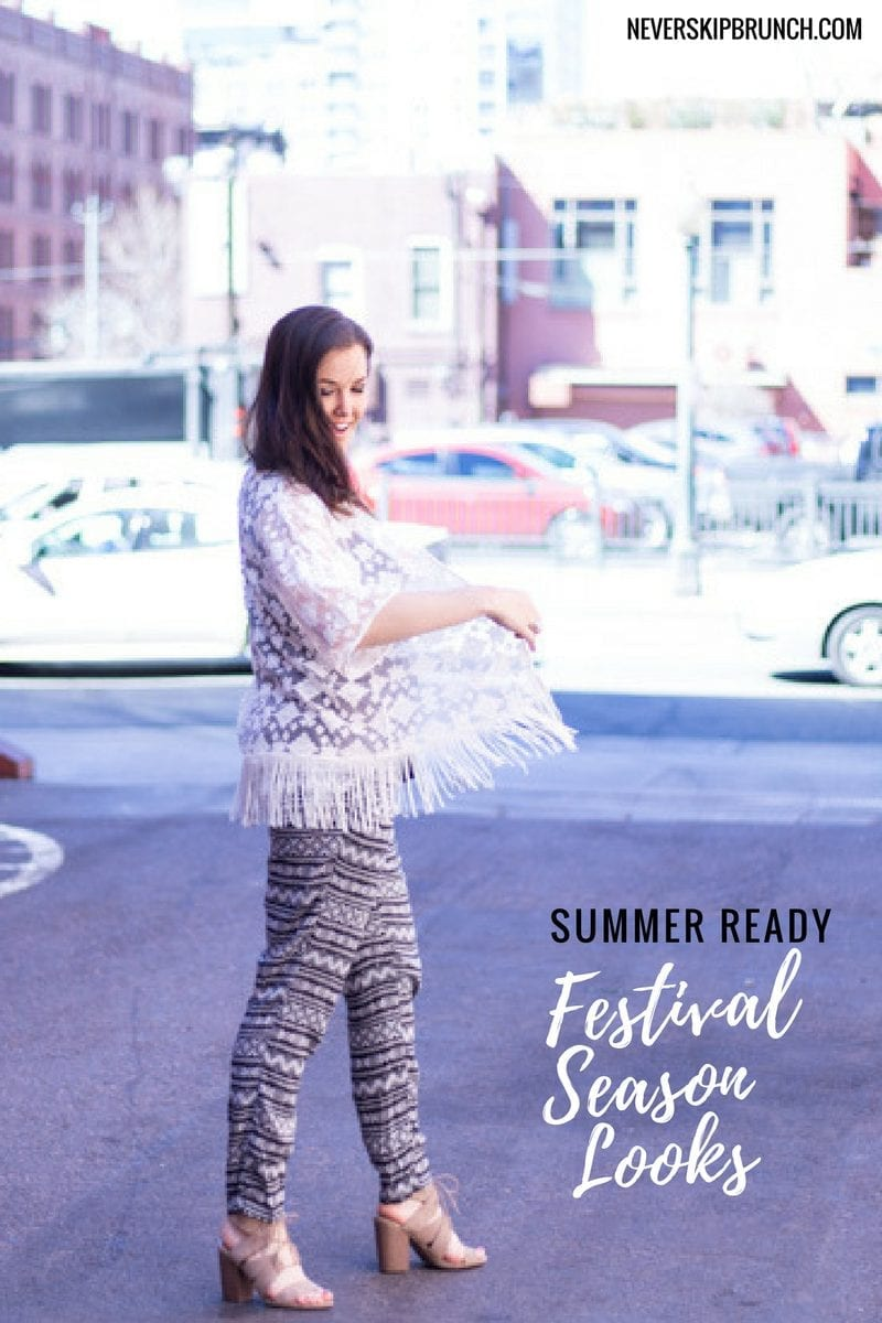 summer music festival outfit | festival style | spring style | tribal print pants | black and white look