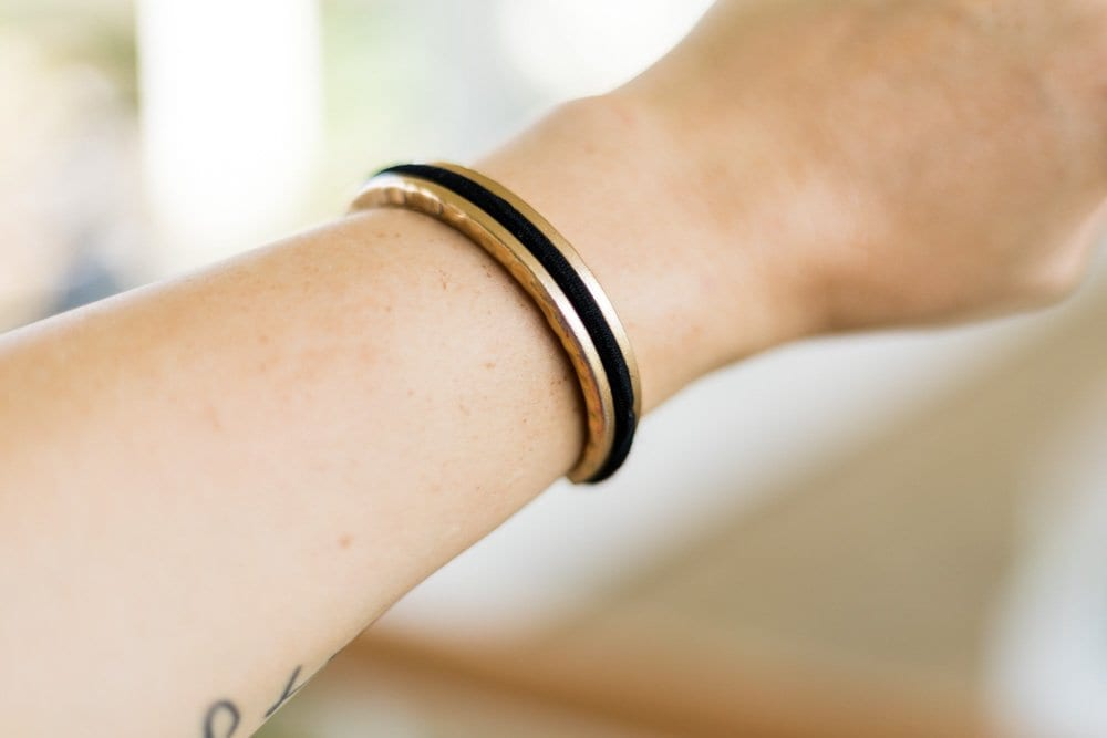 Gold bracelet | hair tie bracelet | hair tie holder | gold bangle | bracelet that holds hair tie
