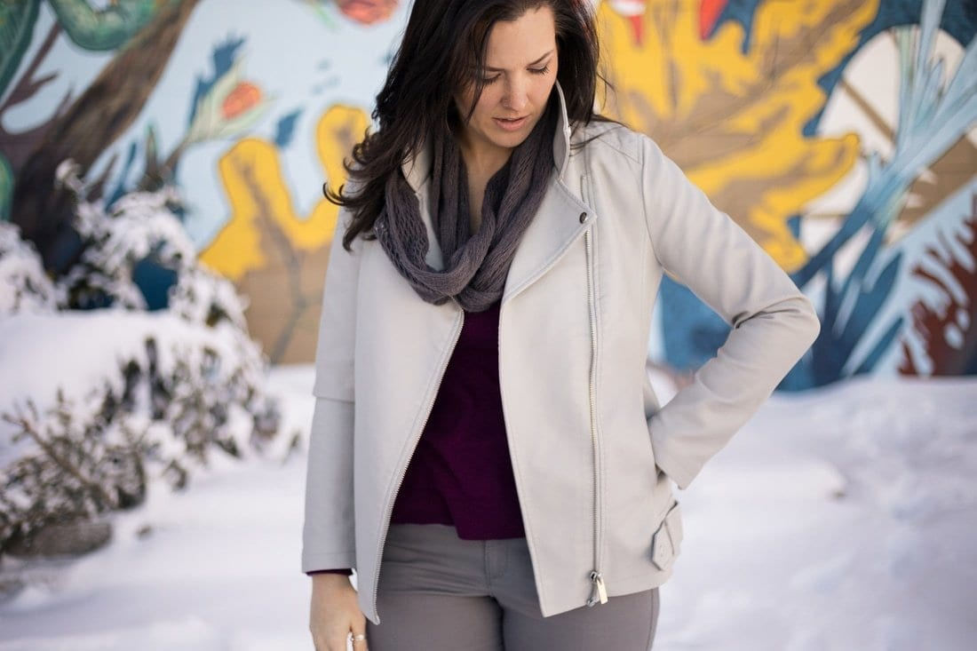 Vegan Leather | Winter Style | Leather Jacket | Grey outfit | Fashion Blogger | Denver Photographer | Purple Sweater