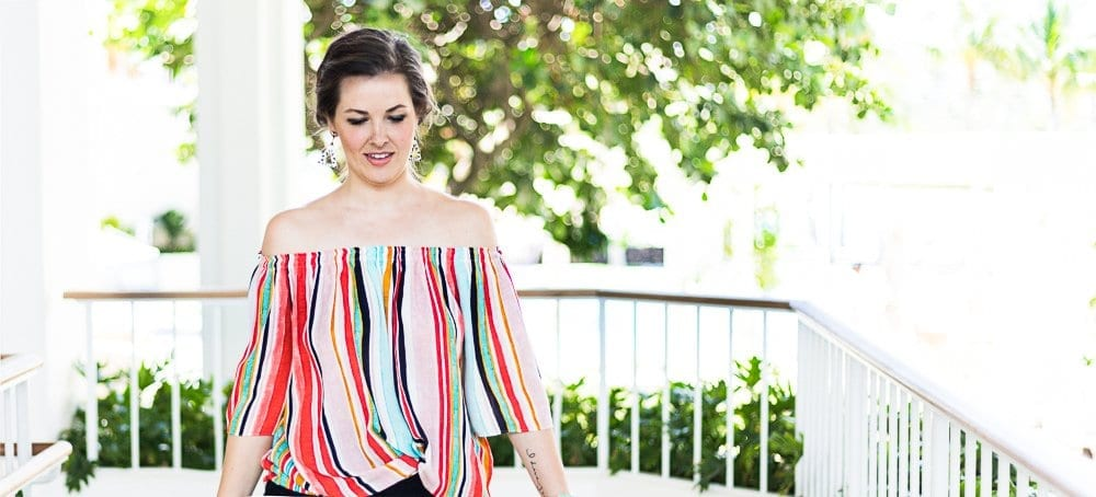 striped off the shoulder top | bright colored top | summer style | beach vacay looks | summer date night | off shoulder tops | outfit of the day | summer OOTD