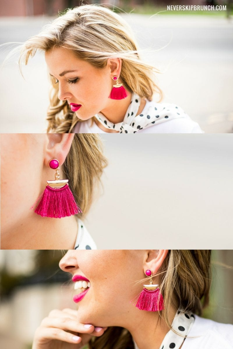 fringe tassel earrings | bauble bar | perfect summer earrings | hot pink accessories | crop top top | but first brunch top | croptop for summer | polkadot neck scarf | 50's style | modern pinup style | outfit of the day | summer style | polka dots