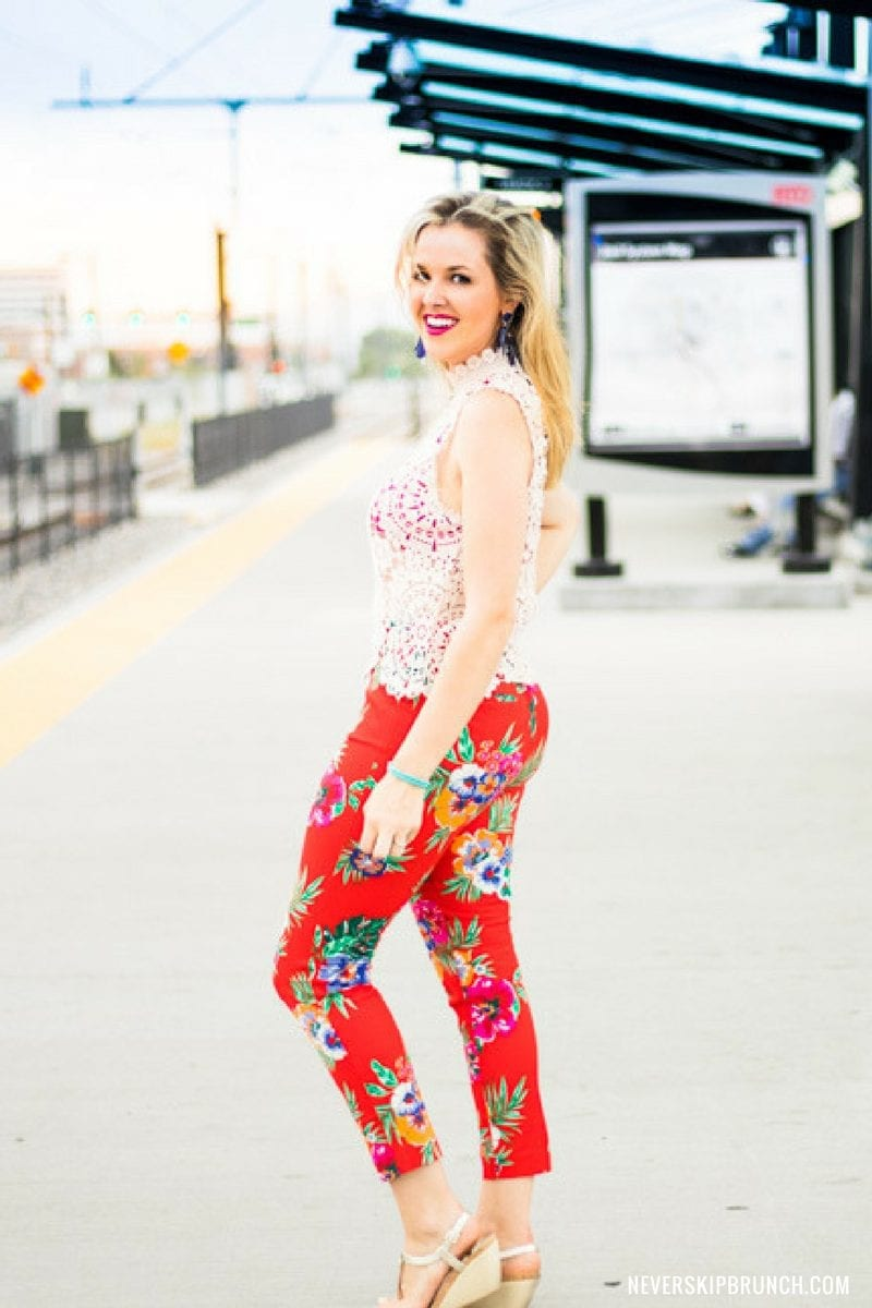 floral pants | fall florals | transition florals from summer to fall | red floral pants | couch florals
