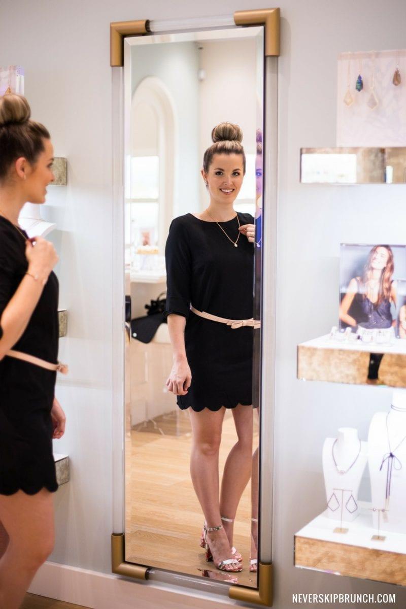 kendra scott earrings | scallop dress for fall | jewelry | Fashion show mall vegas | kendra scott vegas | TOBI scalloped dress | kendra scott necklace elisa