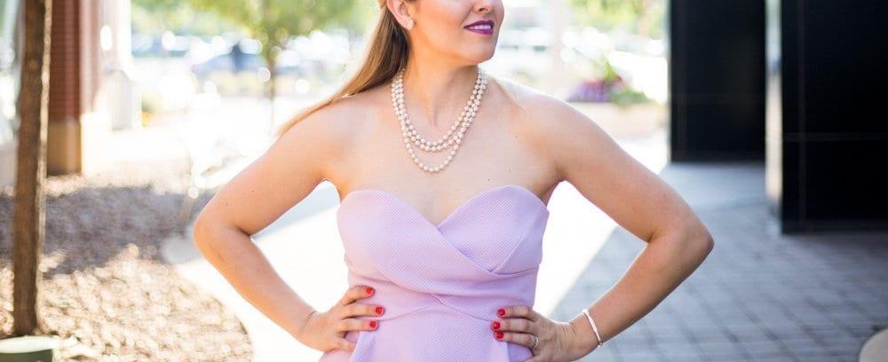 peplum top   toms shoes   casual chic look   denim & block heels   lavender top   pearl necklace   sweetheart neckline   nordstrom sale