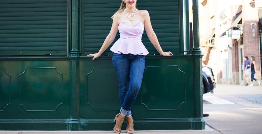peplum top   toms shoes   casual chic look   denim & block heels   lavender top    sweetheart neckline   nordstrom sale