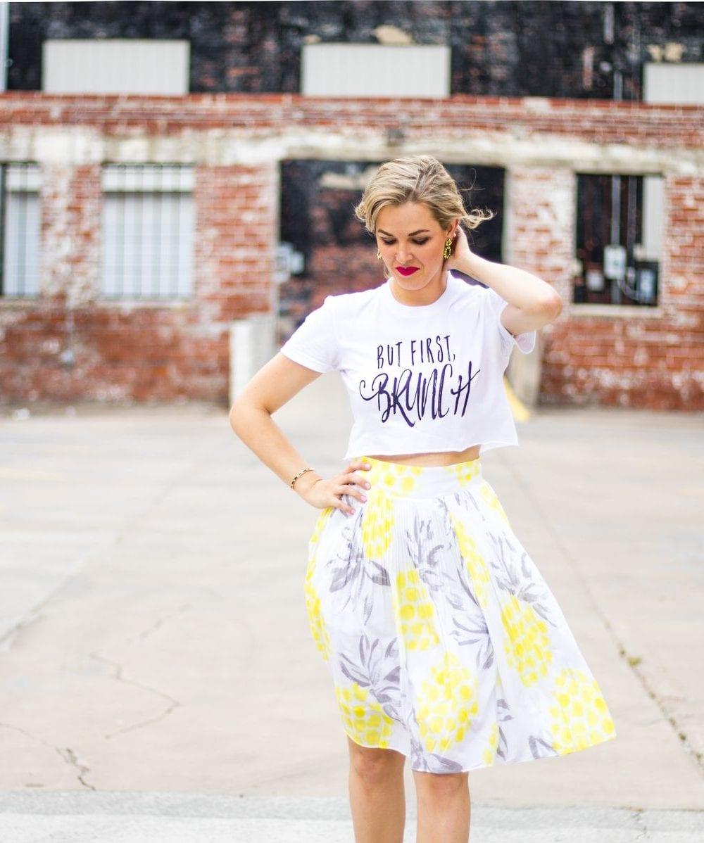 but first brunch shirt giveaway   monetize your blog with affiliate links   Cute Crop Top   venndy platform for bloggers   never skip brunch apparel line   Cara Newhart - Denver Style Blogger