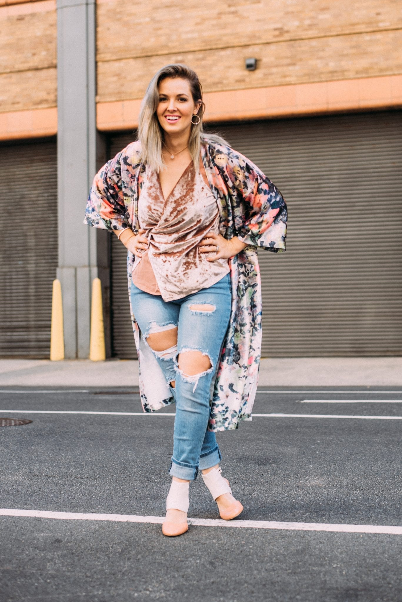 NYFW street style | floral duster | Velvet top | fall style | Fall outfits | New York Fashion Week | Blogger Style | transition pieces