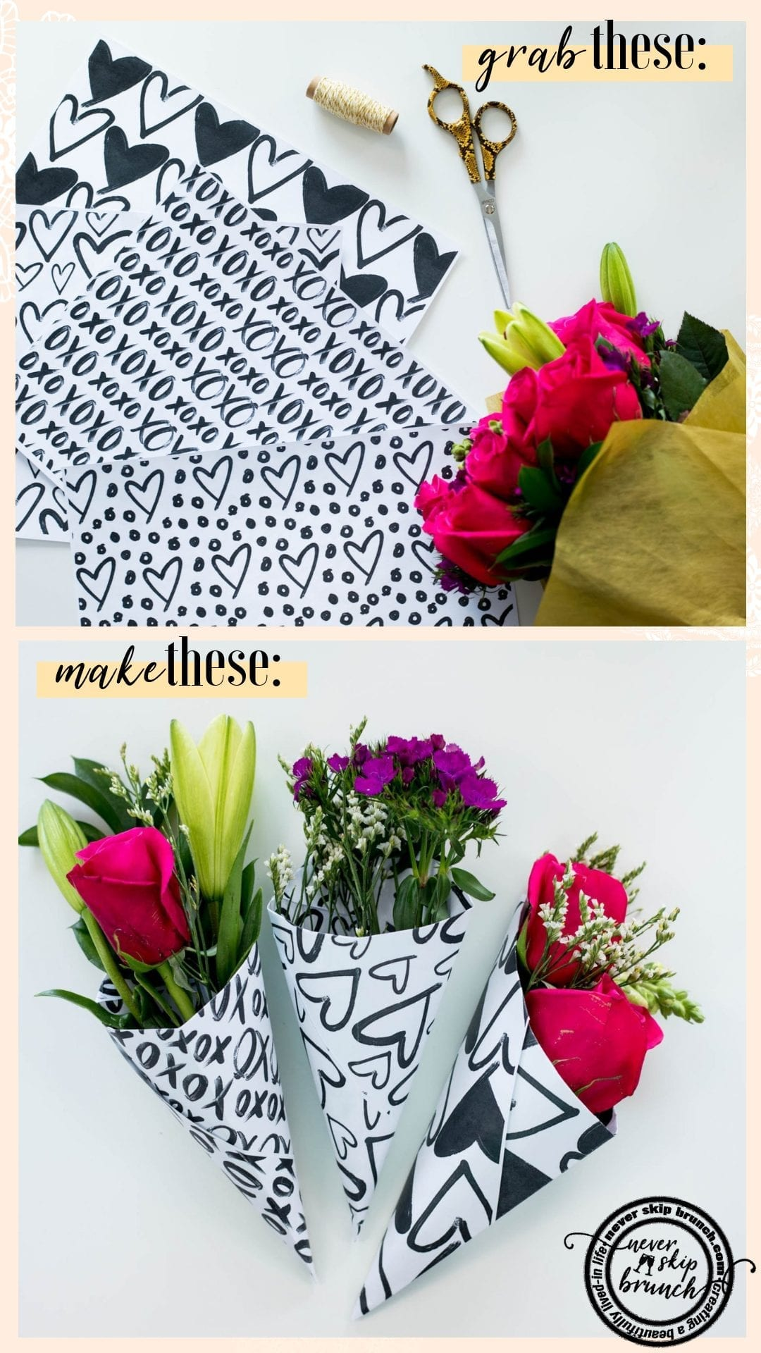 These are adorable! With FREE hand drawn bouquet wraps!   diy valetines day bouquet   valetines day bouquet   vday diy   valentines day flowers   valentines day party favors   Never Skip Brunch by cara newhart   #valentinesday #floral #bouquet #neverskipbrunch