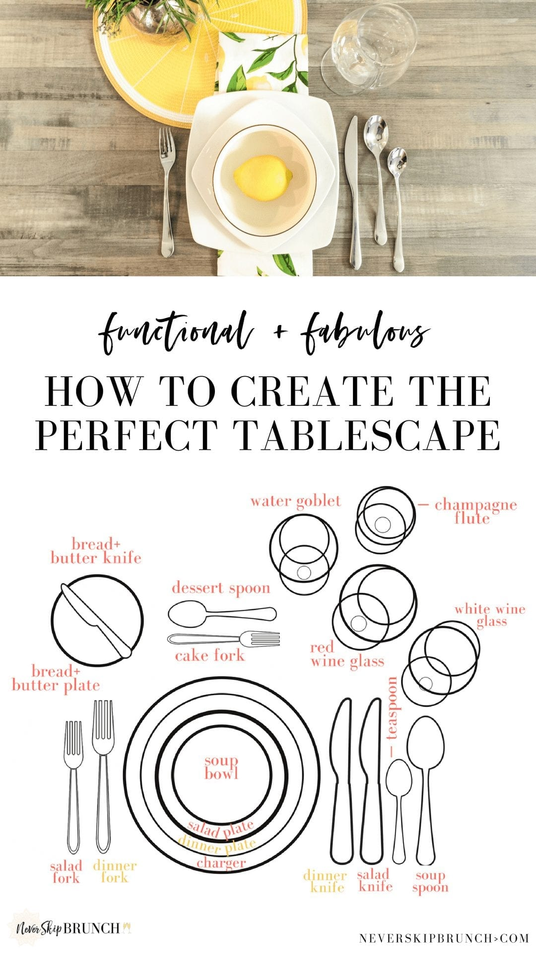 This tablescape checklist will give you tablescapes ideas for how to create dinner party table settings | Never Skip Brunch #NSBhome #decor