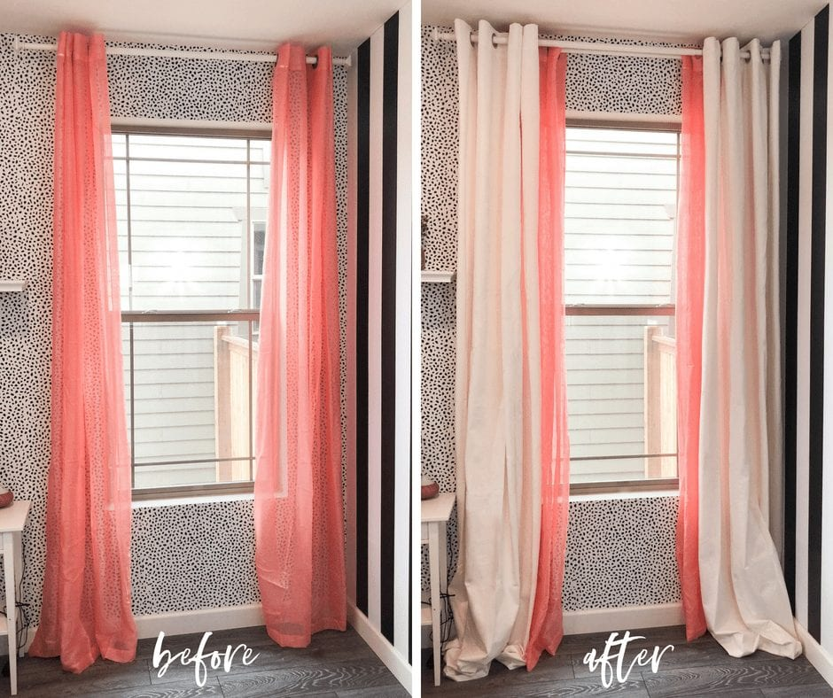 Here's how to style colored curtains. Some simple curtain tips and tricks for hanging curtains with sheers that are colored. | never skip brunch by cara newhart #home #design