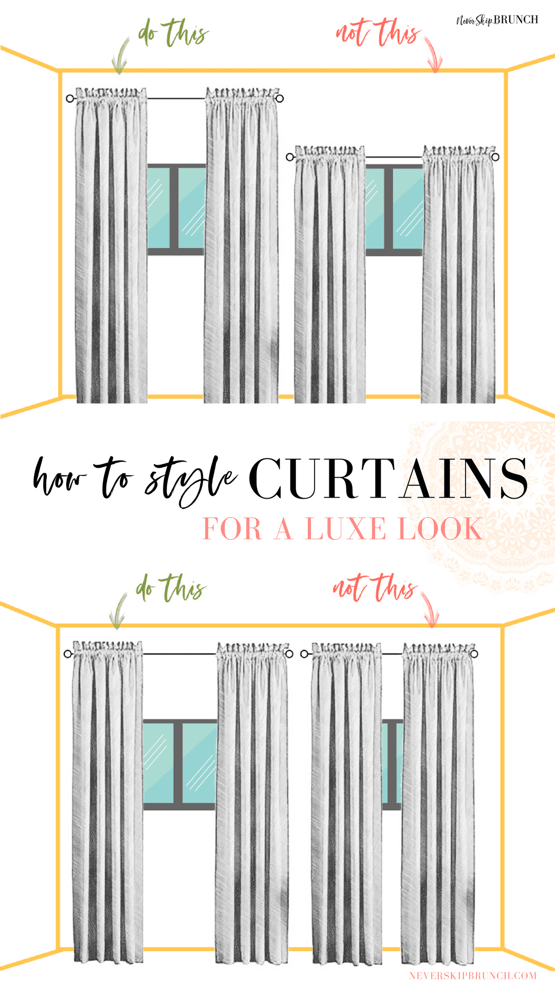 Here's how to style colored curtains. Some simple curtain tips and tricks for hanging curtains with sheers that are colored | never skip brunch by cara newhart #home #design #neverskipbrunch