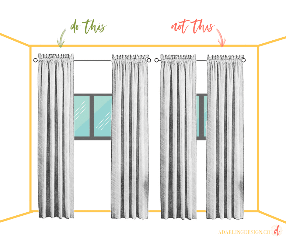 Here's how to style colored curtains. Some simple curtain tips and tricks for hanging curtains with sheers that are colored.
