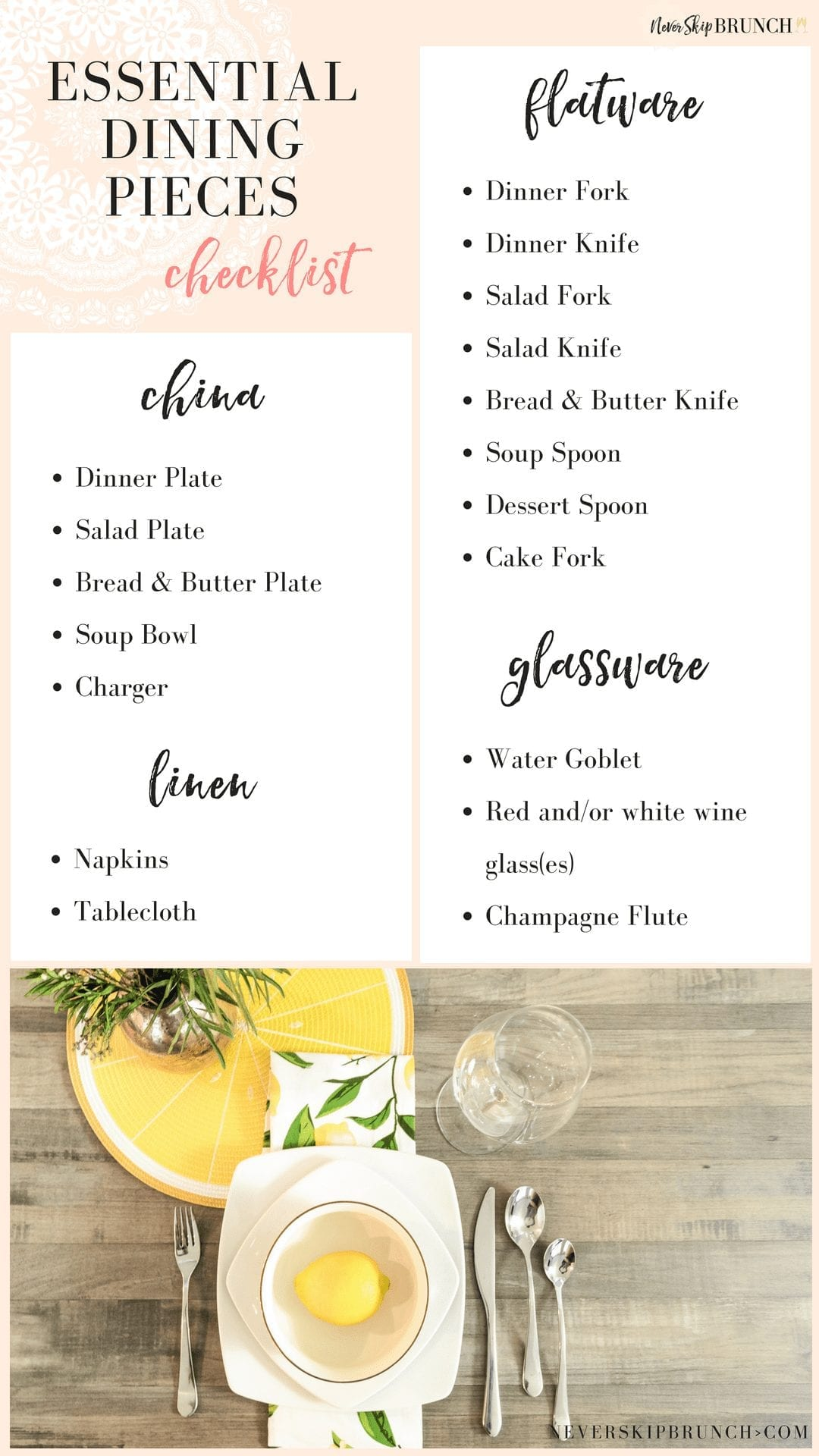 Place Setting Checklist | This tablescape checklist will give you tablescapes ideas for how to create dinner party table settings | never skip brunch by cara newhart #home #decor #neverskipbrunch
