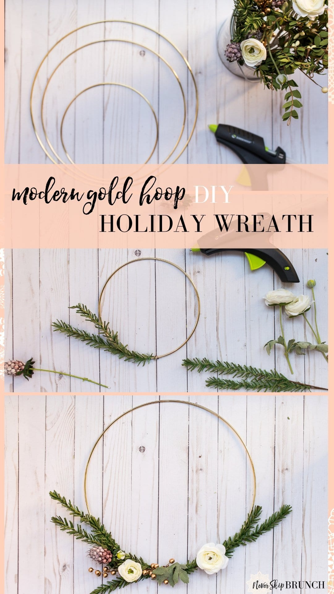 holiday wreaths diy christmas | christmas wreath gold hoop | how to make simple christmas wreath | christmas decor modern simple | holiday wreaths diy christmas simple | never skip brunch by cara newhart #decor #christmas #holiday