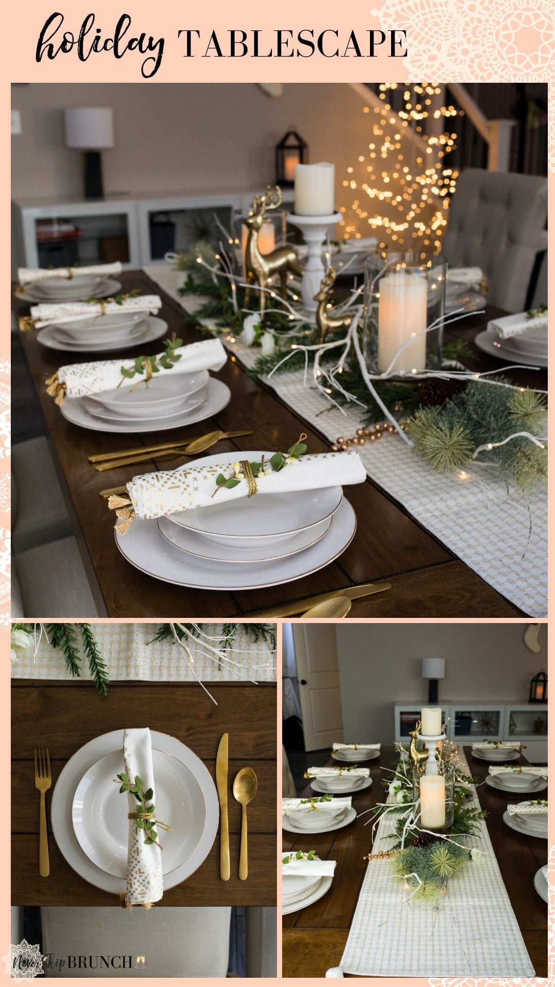 christmas decor ideas | holiday decor christmas table | christmas table decor white | christmas tablescapes | christmas table decorations | christmas decor white and gold | never skip brunch by cara newhart #decor #christmas #holiday