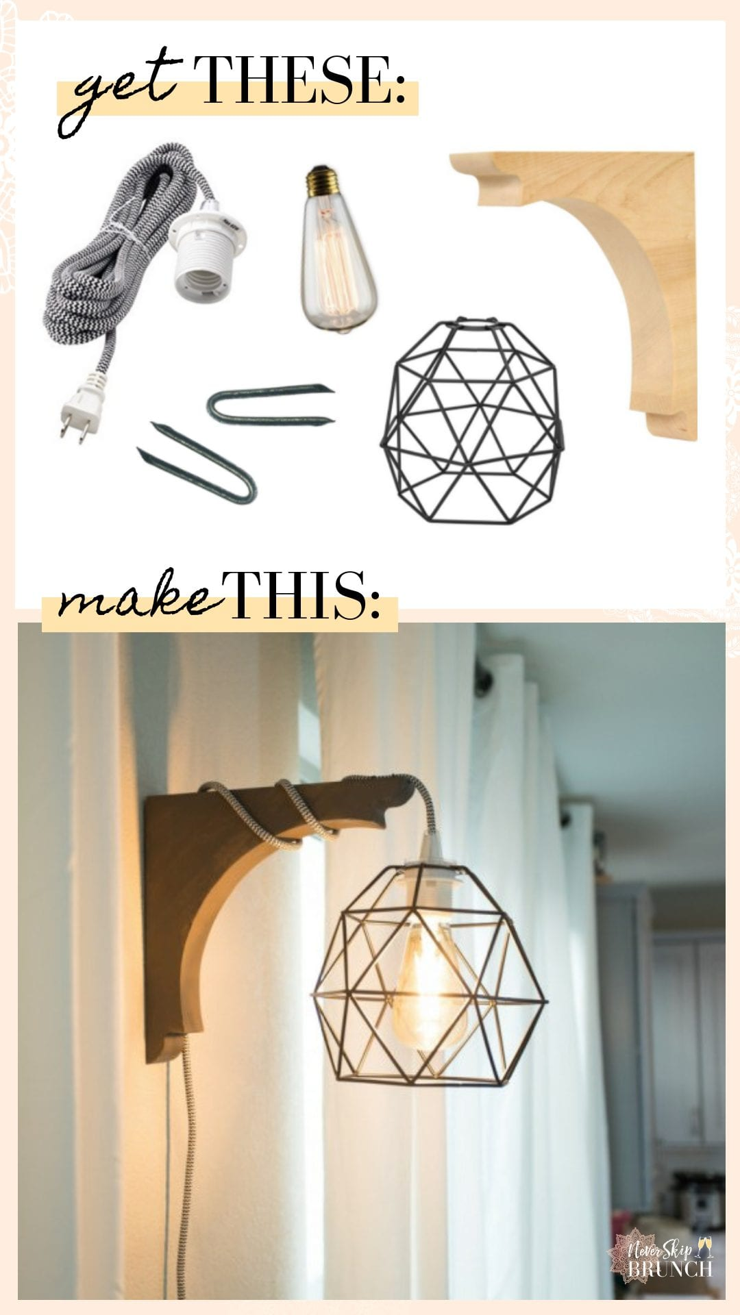 super easy corbel sconce light DIY | This diy corbel light does not require a drill. You can build this industrial diy corbel light sconce in under 30 minutes. | never skip brunch by cara newhart #decor #home #DIY
