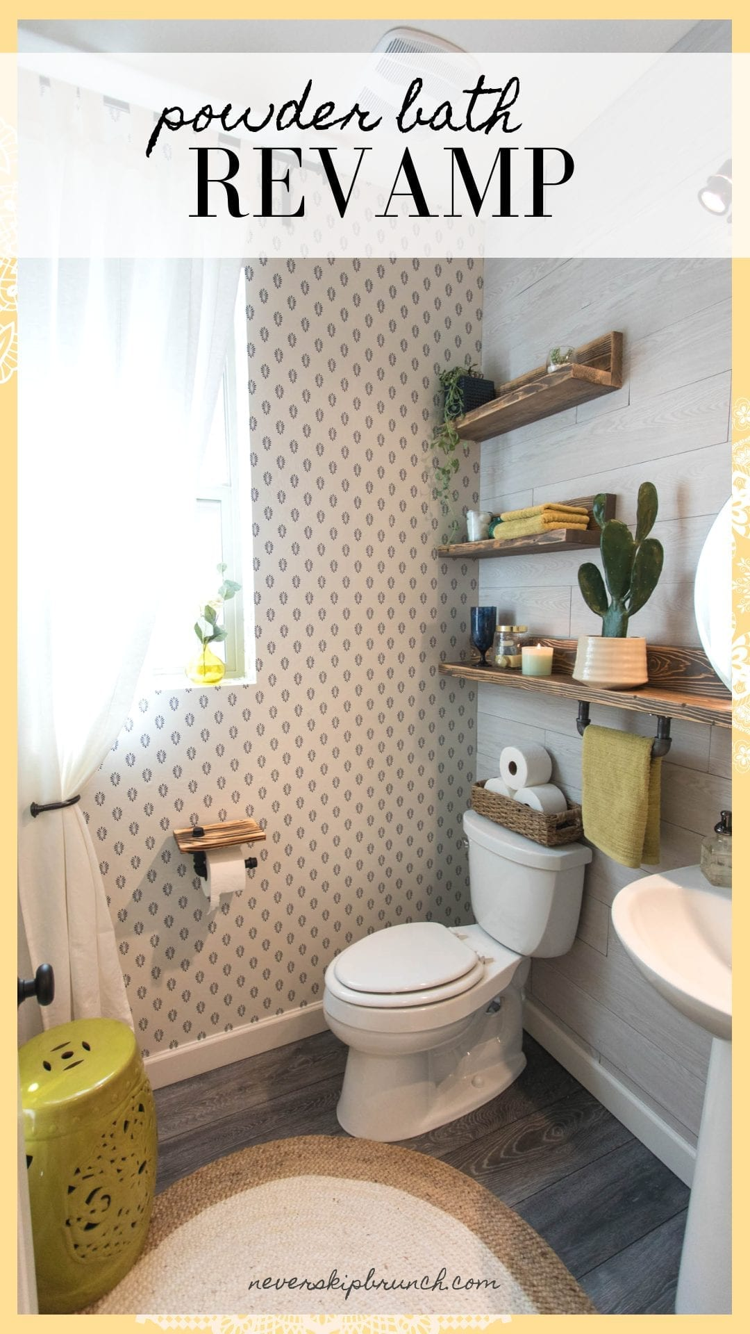 This Powder bath makeover gives you small powder bathroom ideas for transforming your space with elegant industrial powder bath decor   Never Skip Brunch by Cara Newhart #design #decor #interiordesign