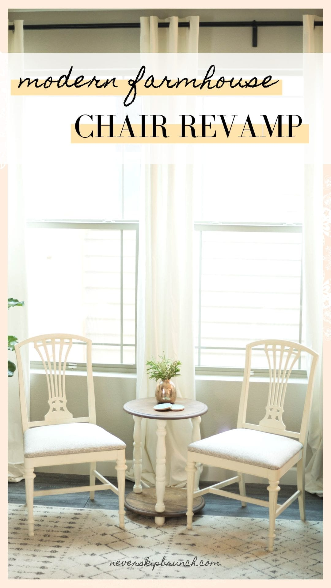 Check out this furniture makeover diy with chalk paint | DIY Modern Farmhouse Chairs | #neverskipbrunch neverskipbrunch.com  never skip brunch by cara newhart #DIY #furniture #farmhouse