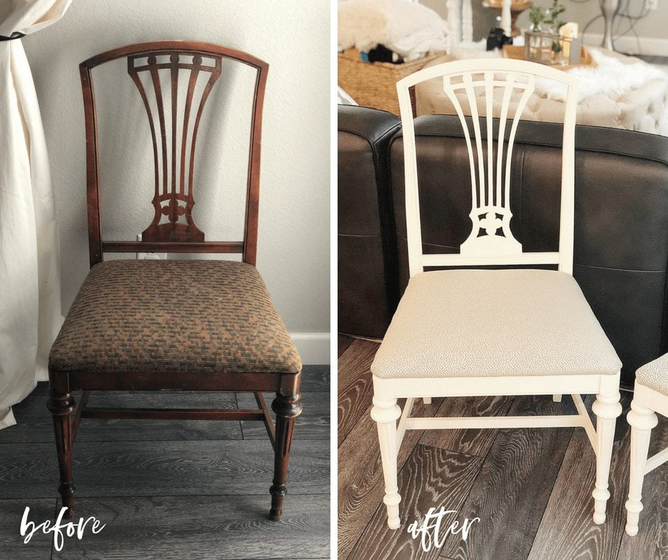 before and after | Check out this furniture makeover diy with chalk paint | DIY Modern Farmhouse Chairs | #neverskipbrunch neverskipbrunch.com #DIY #furniture #farmhouse