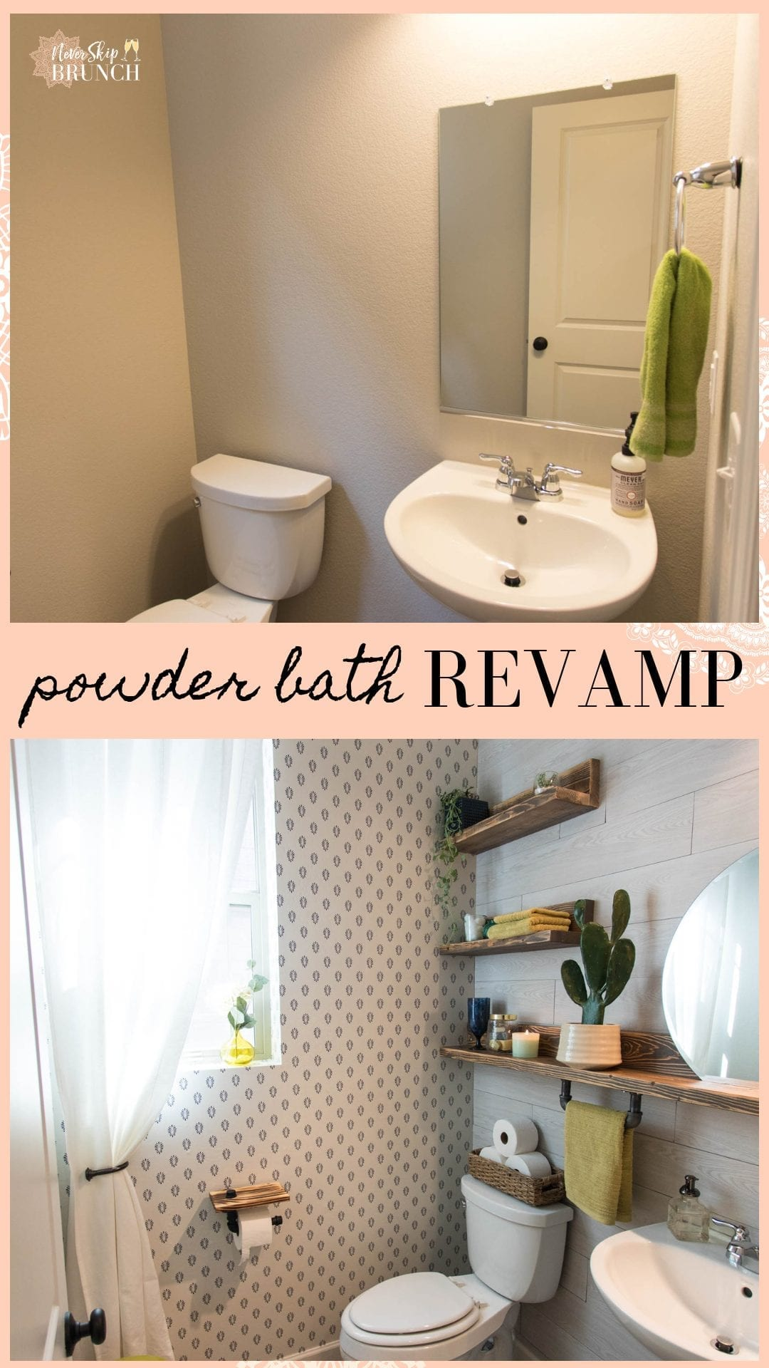 This Powder bath makeover gives you small powder bathroom ideas for transforming your space with elegant industrial powder bath decor | Never Skip Brunch by Cara Newhart #design #decor #interiordesign