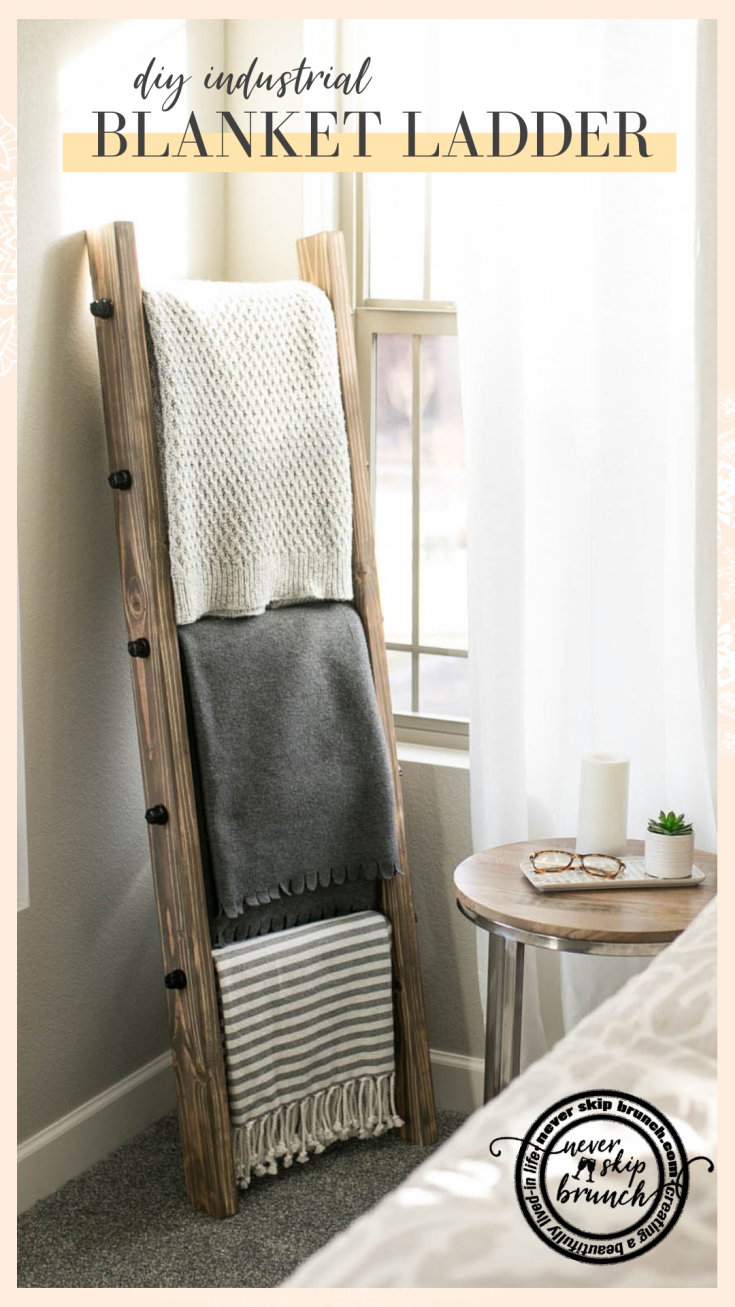 Oh my gosh this is so easy and adorable!! DIY blanket ladder: Learn how to make a blanket ladder. Make an industrial blanket ladder to fit your industrial home decor. MAKE THIS: Blanket ladder living room / blanket ladder modern | #DIY #Home #denver #neverskipbrunch | Never Skip Brunch by Cara Newhart