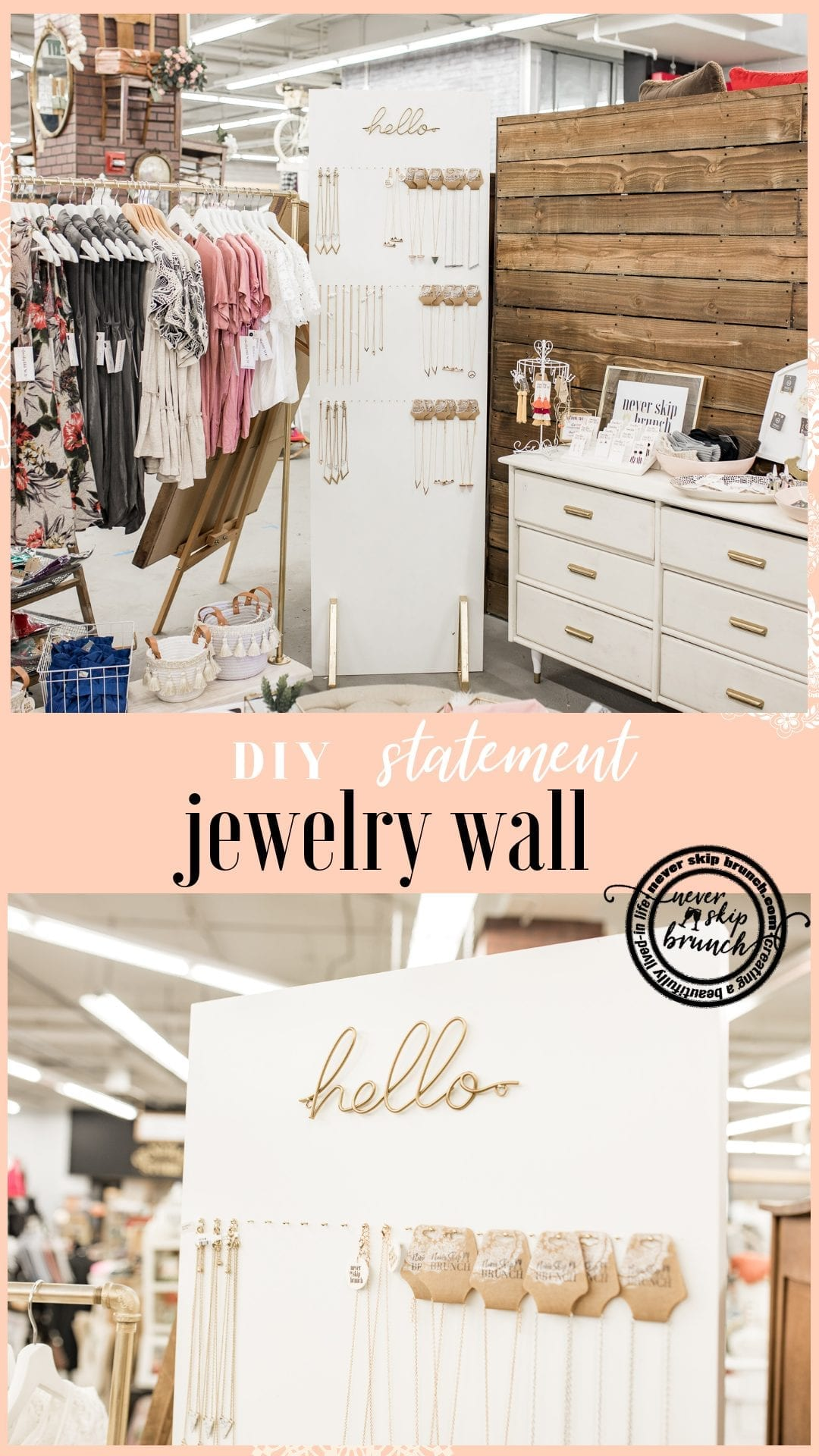 jewelry wall diy | Necklace holder | jewelry statement wall | jewelry organization diy | Never Skip Brunch by Cara Newhart | #decor #diy #jewelry #neverskipbrunch