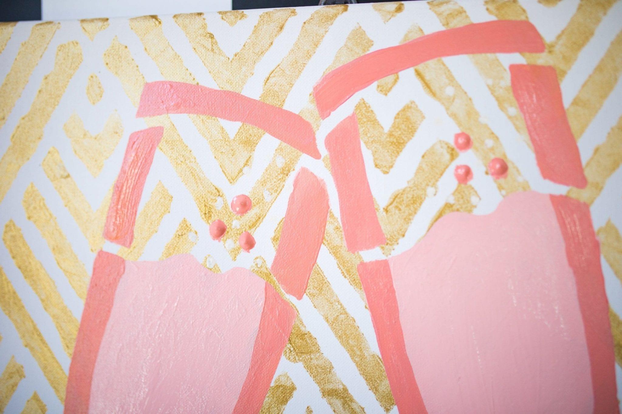 wall decor diy | Canvas DIY | diy canvas wall art stencil | cheers wall decor | super fun office decor | Never Skip Brunch by Cara Newhart | #decor #diy #canvas #neverskipbrunch