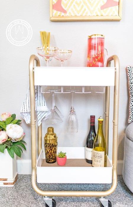 DIY Bar Cart Tutorial featured by top interior design blogger, Never Skip Brunch