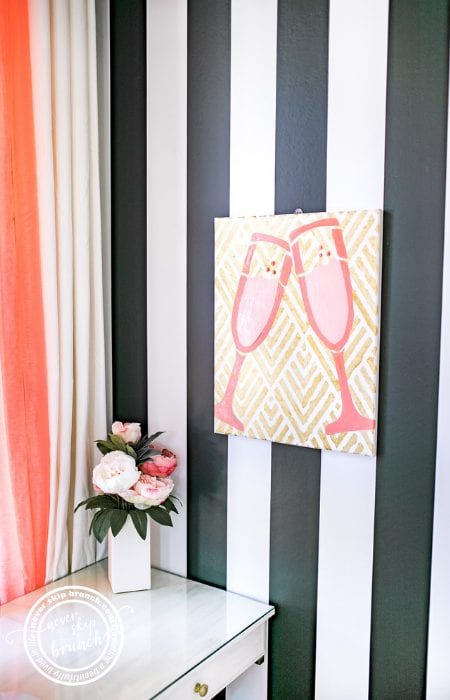 wall decor diy | Canvas DIY | diy canvas wall art stencil | cheers wall decor | super fun office decor | Never Skip Brunch by Cara Newhart | #decor #diy #canvas #neverskipbrunch