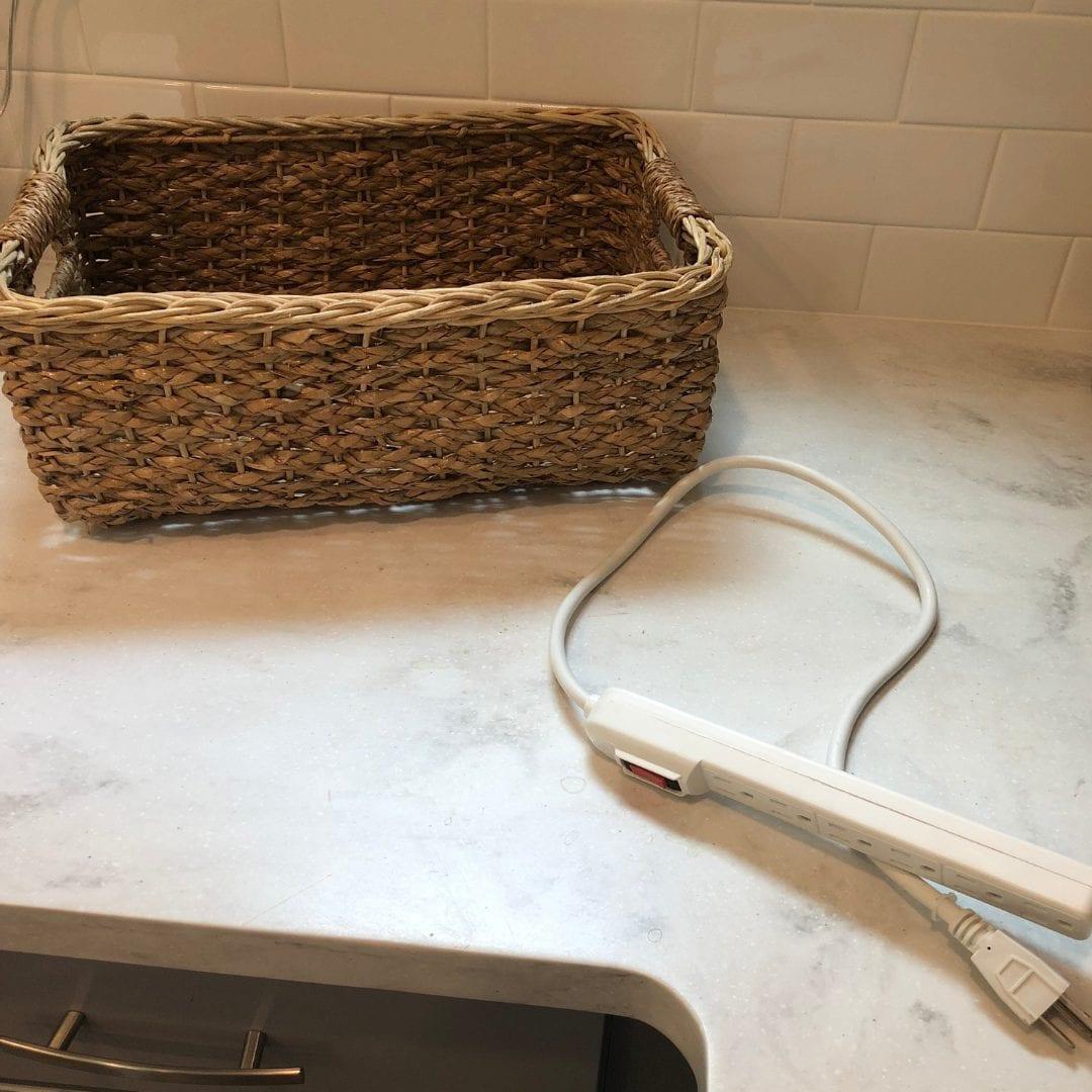 basket charging station | basket charging station storage | charging station ideas | charging station ideas diy | never skip brunch by cara newhart #decor #organization #neverskipbrunch