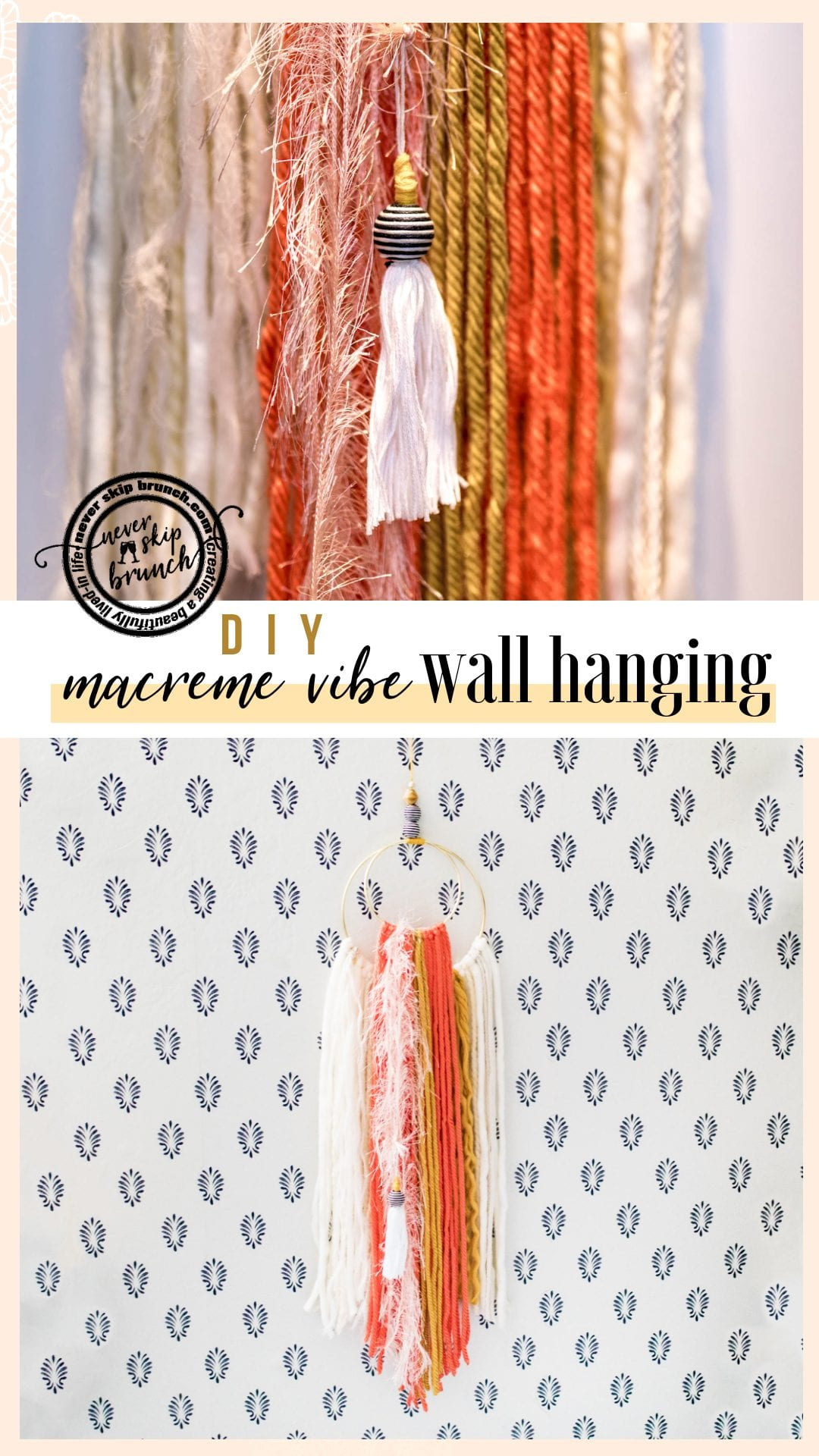 SUPER EASY Wall Hanging DIY | yarn wall hanging | Fringe Wall hanging | macrame wall hanging | macrame wall hanging diy | yarn wall hanging diy tutorials | Never Skip Brunch by Cara Newhart | #neverskipbrunch #DIY #decor #yarn #boho
