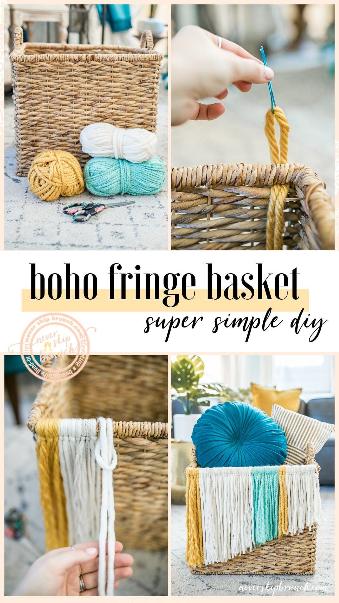 ADORABLE! And SUPER easy!! fringe basket diy | Boho Fringe basket | how to make a fringe basket diy | tassel basket diy | diy boho decor | boho baskets | boho basket DIY » Never Skip Brunch by Cara Newhart #brunch #DIY #boho #decor