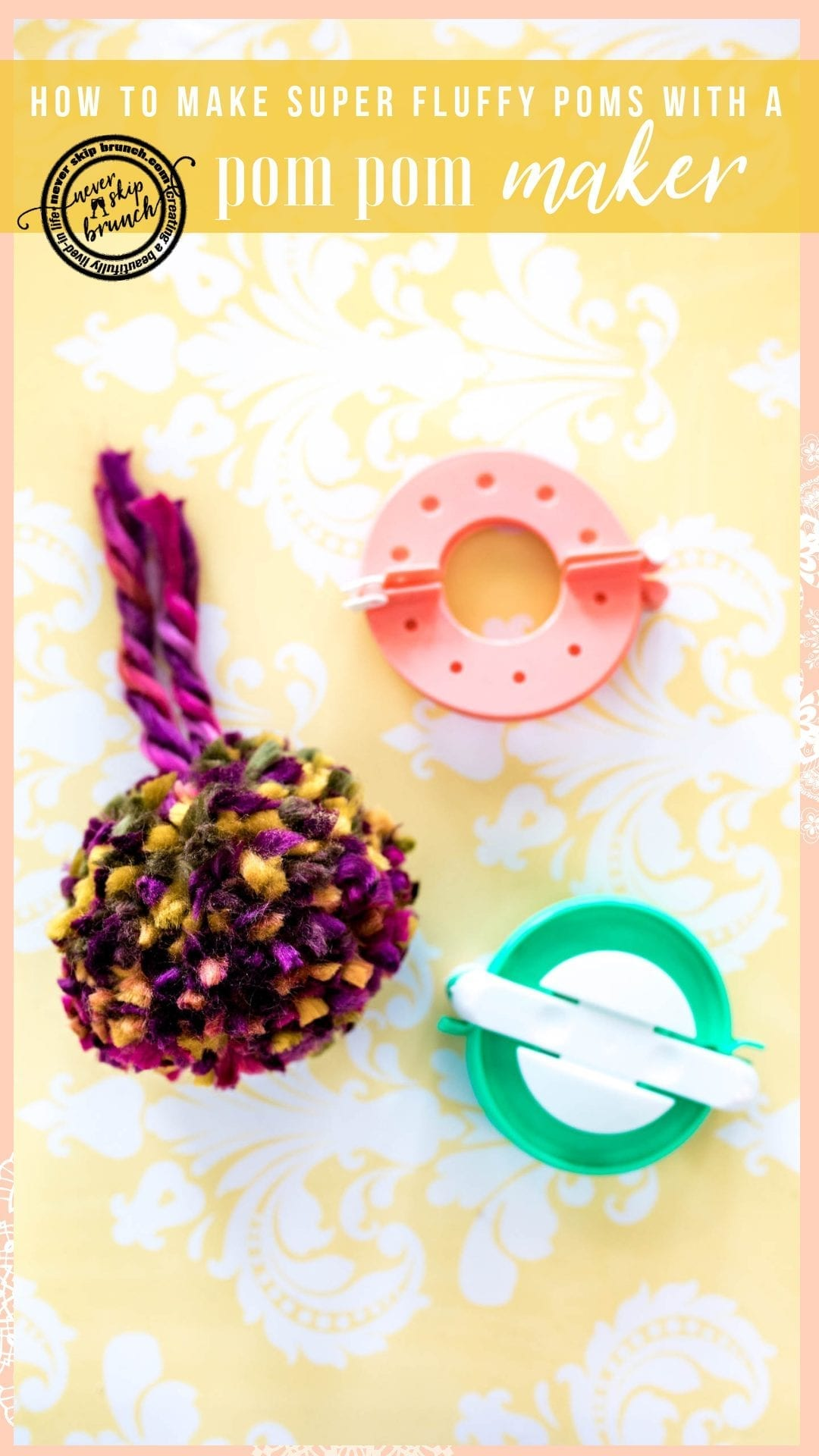 AMAZING TUTORIAL! How to Make pom poms | diy pom poms with a fork | DIY Pom Poms with hand | Make pom pom with a pom pom maker | the secret to fluffy pom poms | how to make a perfect pom pom | pom pom DIY | pom pom tutorial » Never Skip Brunch by Cara Newhart #DIY #crafts #decor