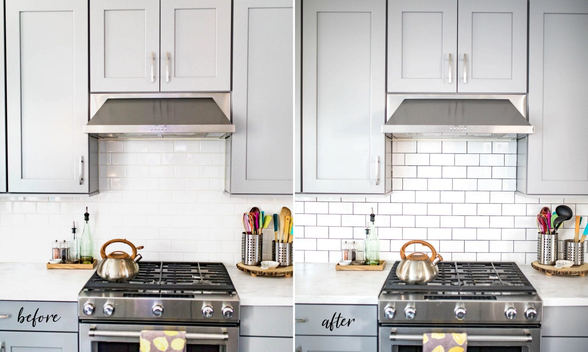 Backsplash Tile Refresh How To Make White Tile Pop For Under 20 Never Skip Brunch