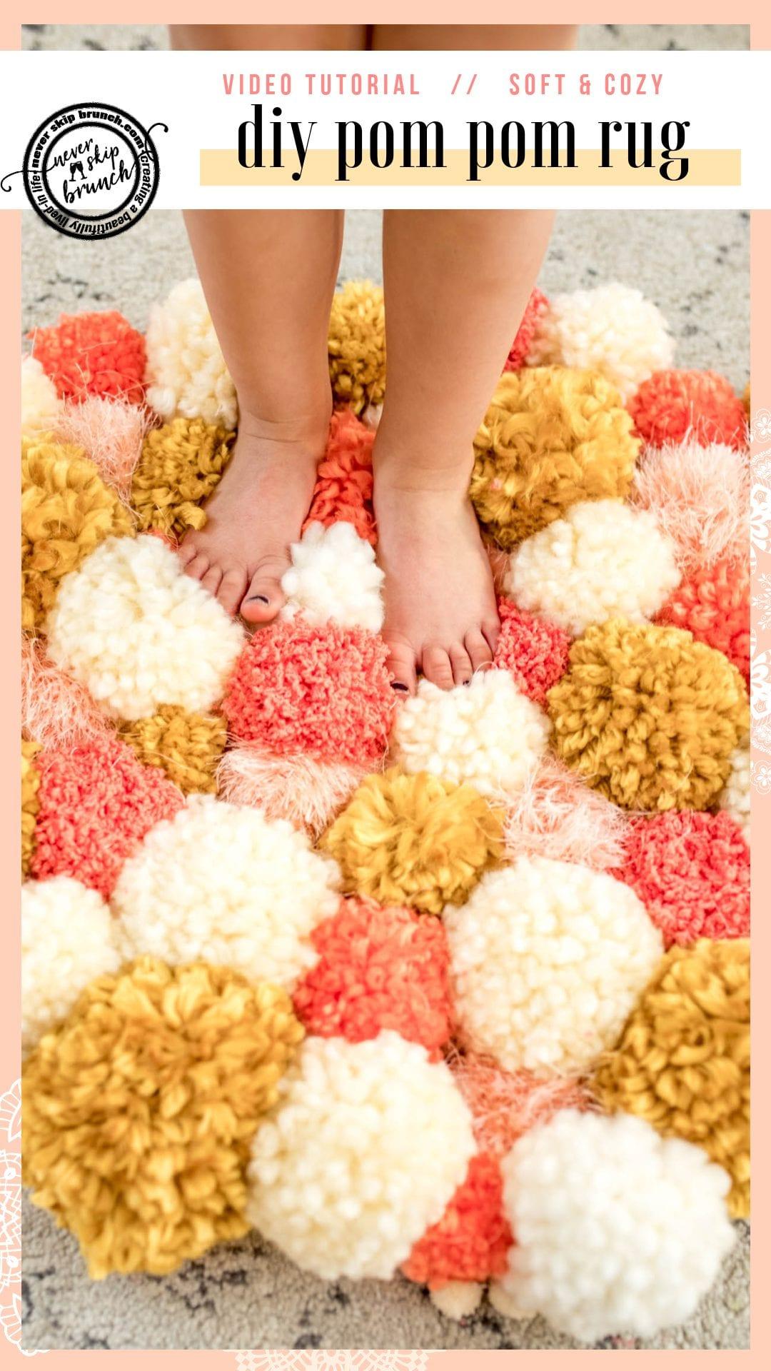SO CUTE & SOFT! | pom pom rug tutorial video | pom pom rug tutorial | pom pom rug DIY | DIY Ideas | DIY Projects | pom pom rug diy ideas | Easy DIY Projects Yarn | Yarn crafts | Never Skip Brunch by Cara Newhart Denver Blogger | #DIY #Crafts #decor #yarn