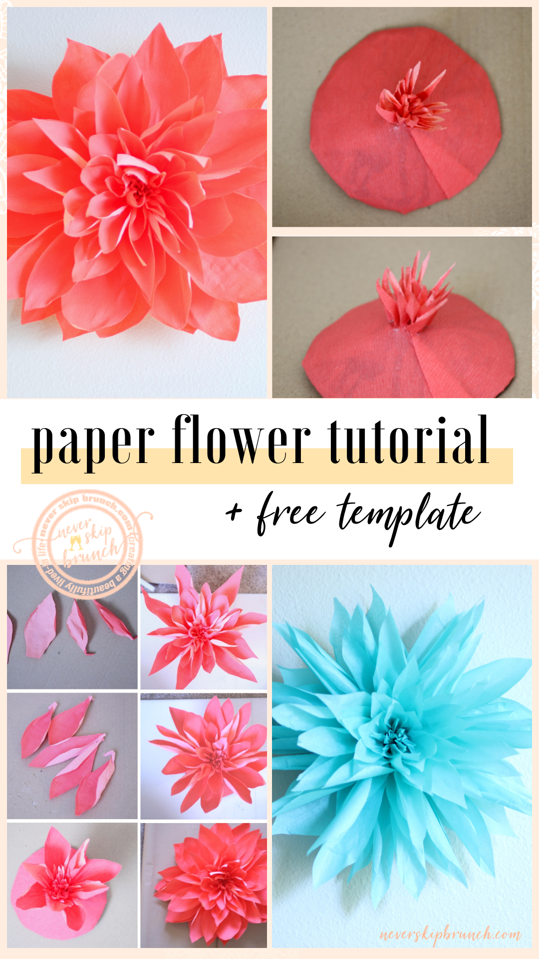 ADORABLE!!! giant paper flower tutorial wall art | paper flowers diy | paper flower diy | wall decor paper flower | diy paper flower for wall | paper flowers template | paper flowers free printable | Never Skip Brunch by Cara Newhart | #decor #diy #paperflower #neverskipbrunch