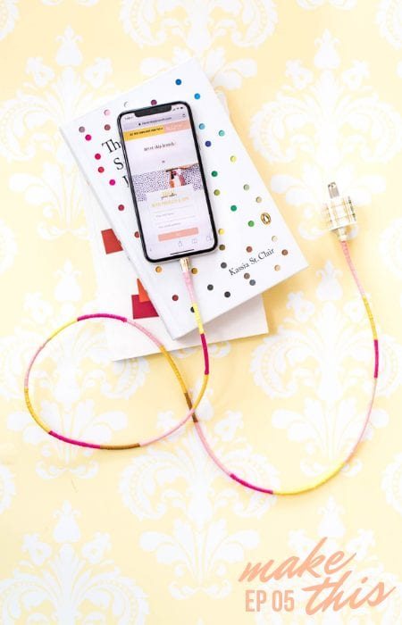 DIY Wrapped Charger Cord featured by top interior design blogger, Never Skip Brunch