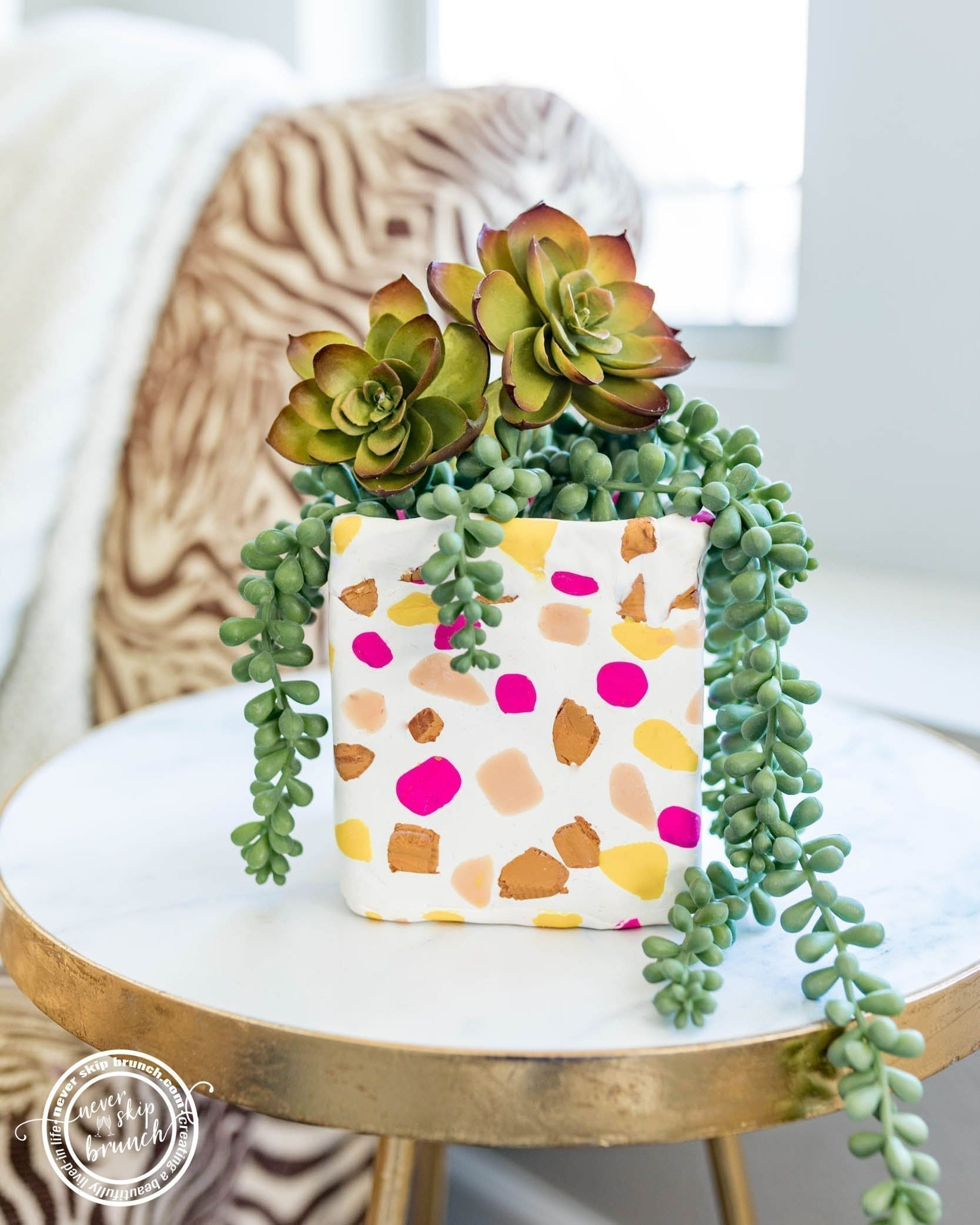 SO EASY! Terrazzo planter diy with oven bake clay | faux terrazzo clay planter diy | planter diy | diy decor | terrazzo decor | diy clay planter with oven bake clay | polymer clay terrazzo | Never Skip Brunch by Cara Newhart | #home #decor #summer #terrazzo