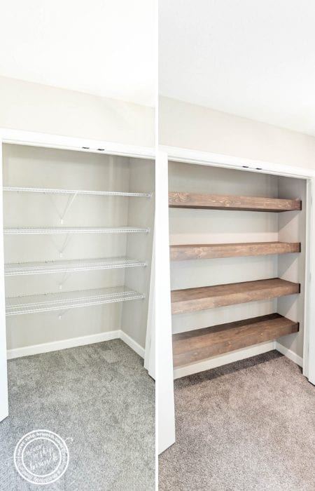 GENIUS! Replace your ugly wire shelves with DIY Wood floating shelves made from framing lumber!   floating shelves diy easy   floating shelves diy closet   wood floating shelves    Never Skip Brunch by Cara Newhart   #decor #diy #neverskipbrunch