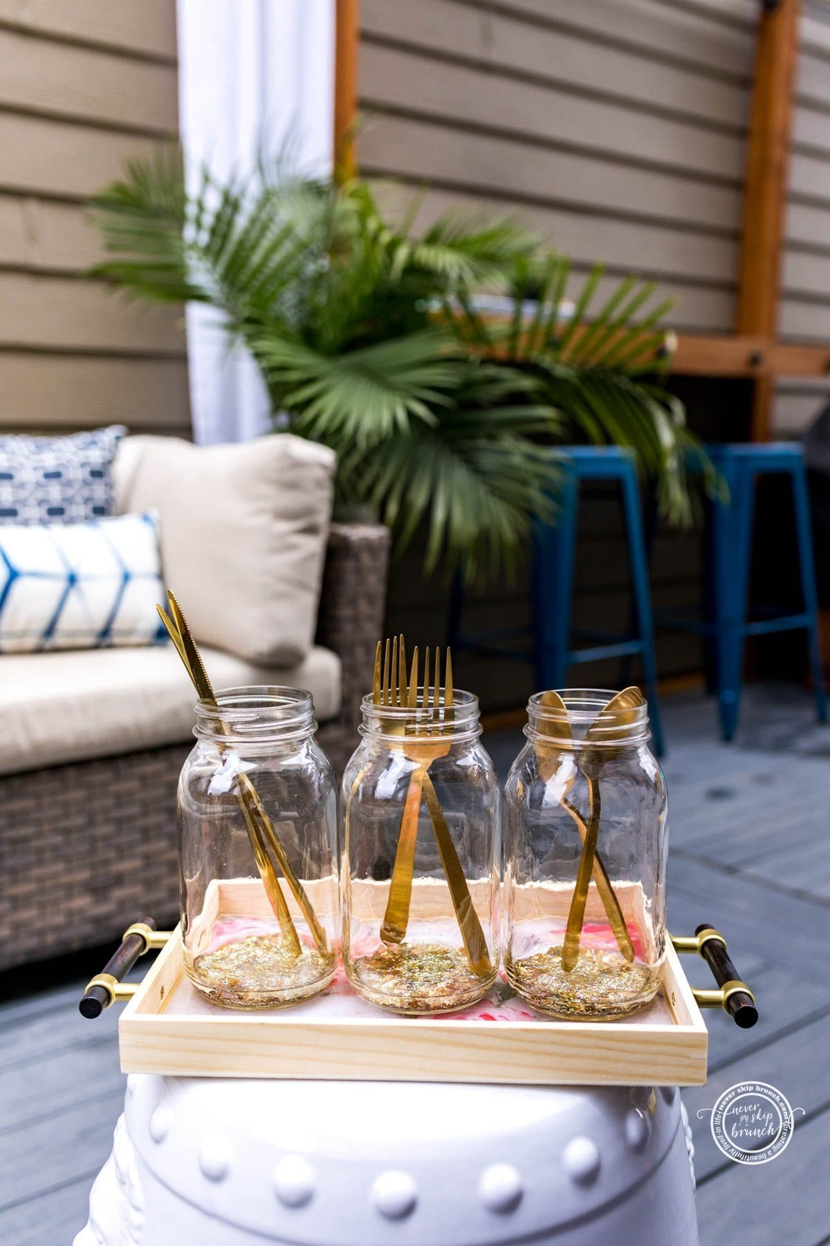 mason jar epoxy pour silverware holder