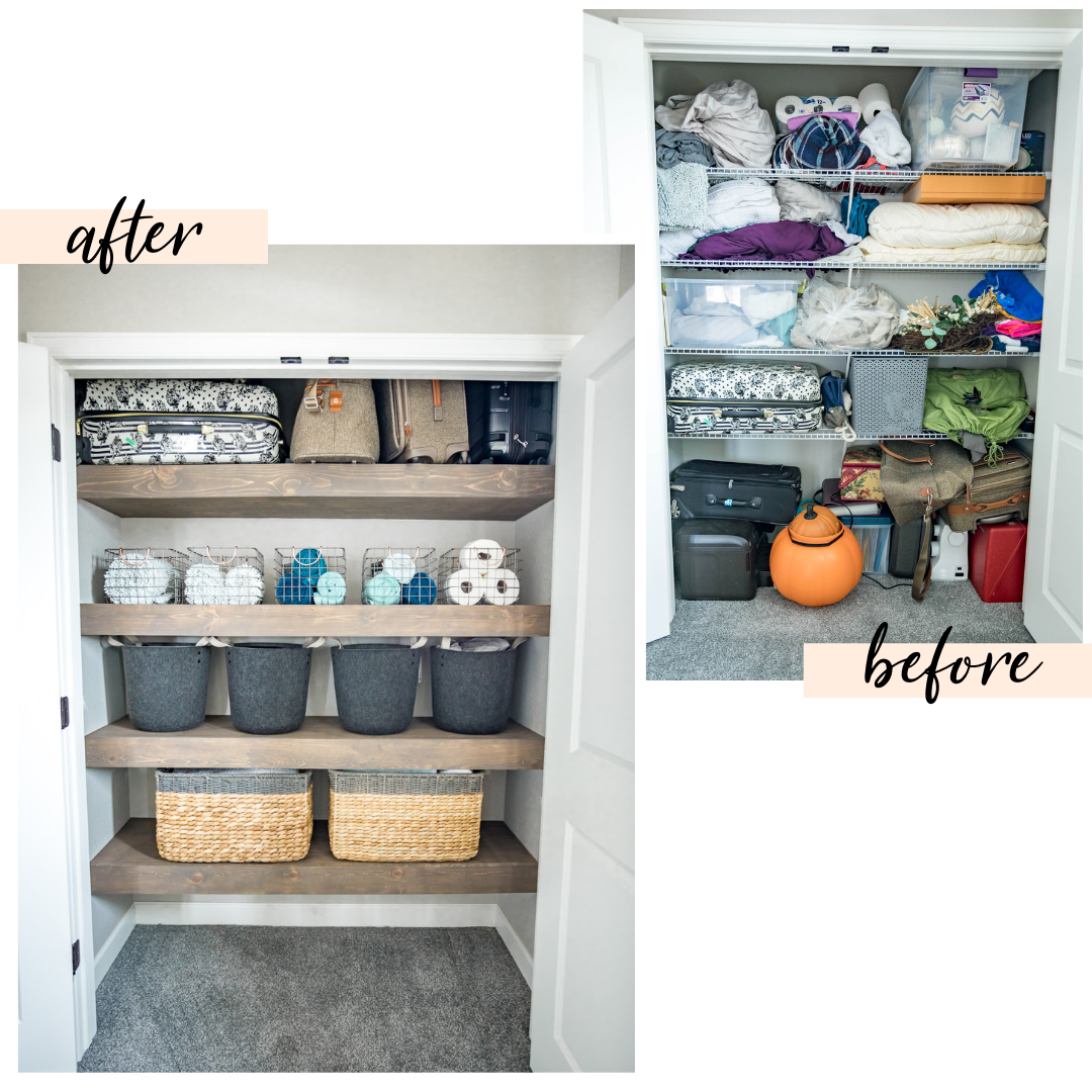 CRAZY BEFORE & AFTER! linen closet organization | linen closet organization ideas | linen closet organization small | closet organization ideas | closet designs | Never Skip Brunch by Cara Newhart #home #decor #linencloset #closet