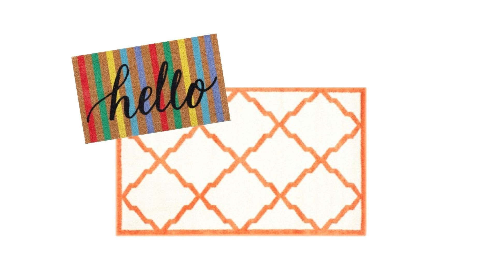 layered rugs at front door — hello striped doormat with orange and white geometric rug » Never Skip Brunch by Cara Newhart