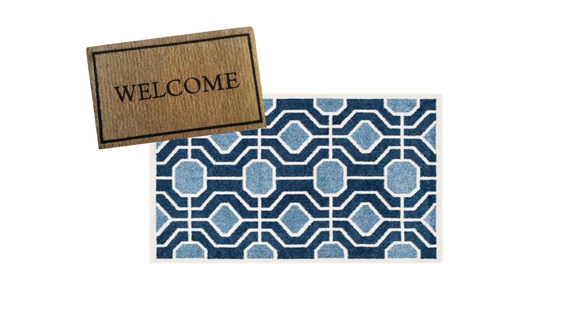 layered rugs at front door — welcome doormat with blue geometric rug » Never Skip Brunch by Cara Newhart