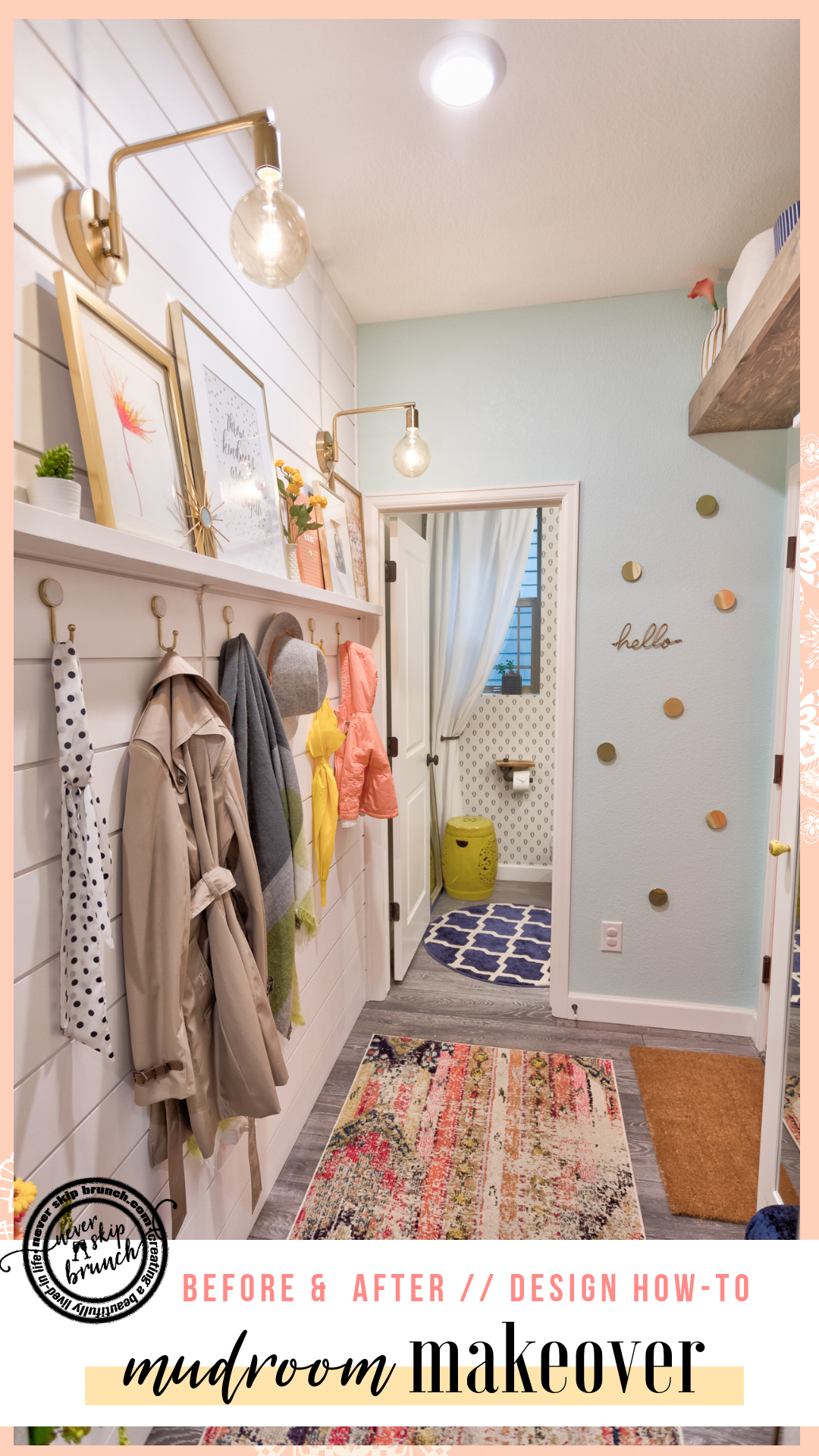 WOW! This mudroom before & after is incredible | mudroom ideas entryway | Mudroom storage | Entryway design | Mudroom Decor | Entryway Decor | Mudroom Ideas | Room reveal | Never Skip Brunch by Cara Newhart | #home #decor #mudroom #interiordesign