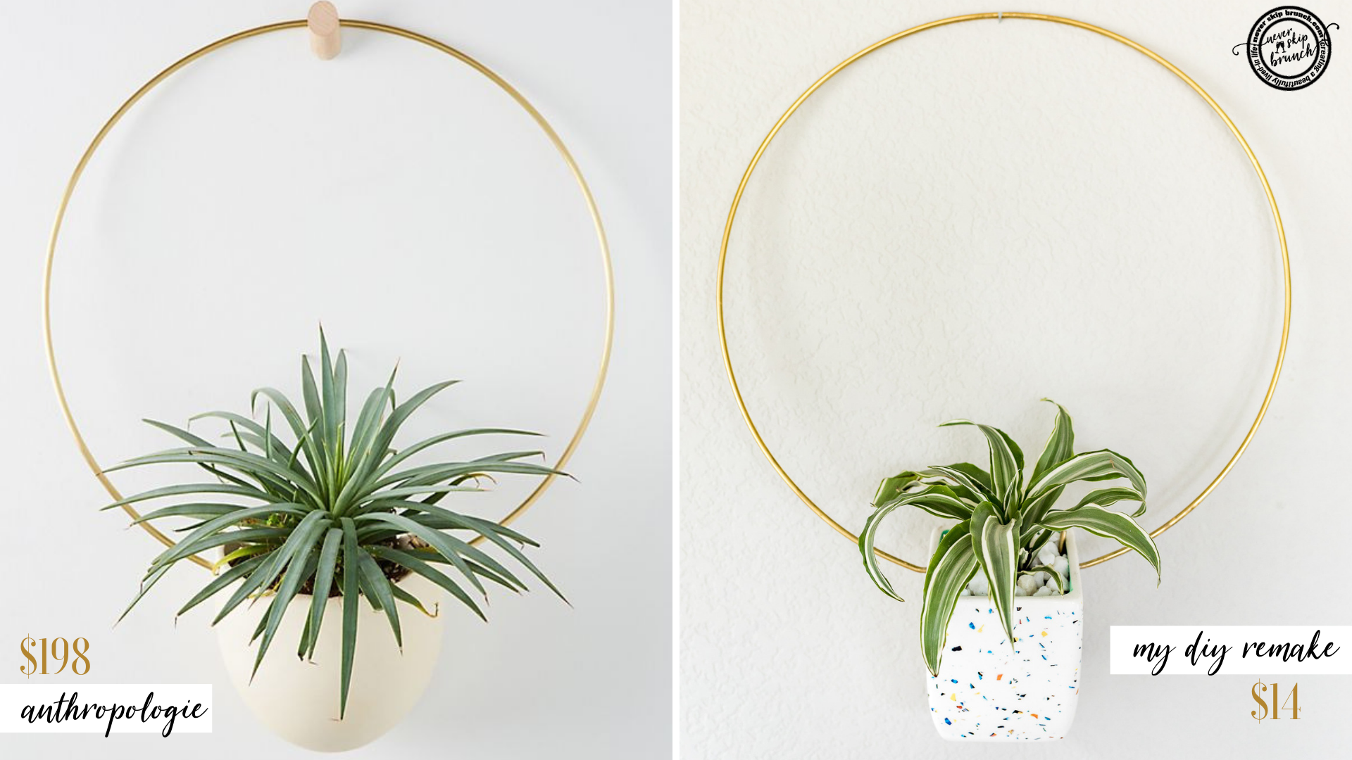 WOW!! She remade this Anthropoligie planter for just $14!! | Hanging Planter DIY | hanging planters indoor | Hanging planter wall | anthropologie diy | anthro remake | Never Skip Brunch by Cara Newhart #home #decor #diy #anthropologie