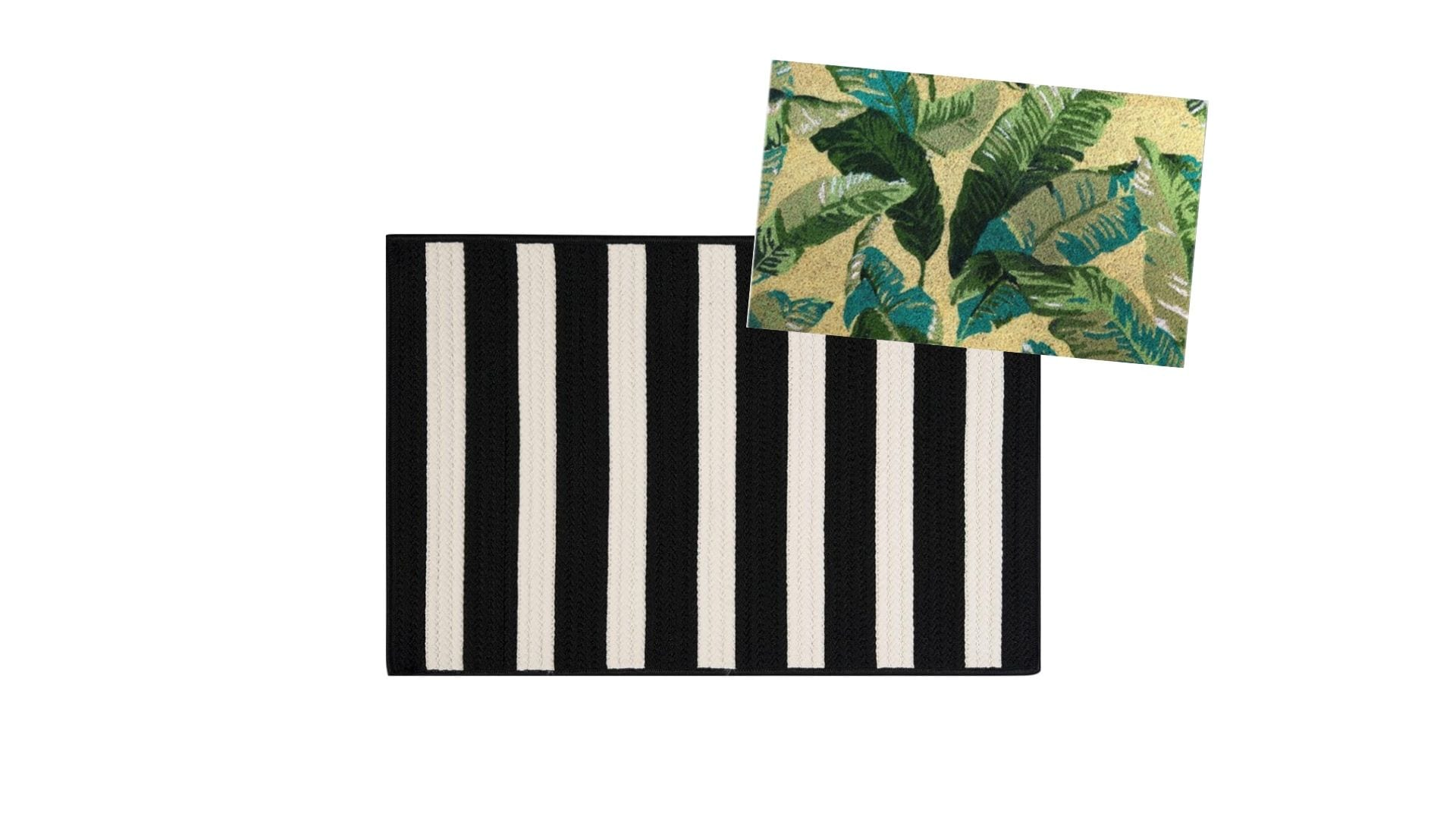 layered rugs at front door — tropical plant doormat with black and white striped rug » Never Skip Brunch by Cara Newhart