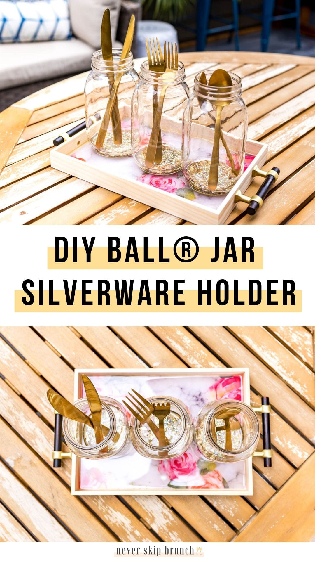 Chic Mason Jar Craft Idea — a silverware holder tray | mason jar crafts | mason jar ideas | patio decor | silverware holder DIY | mason jar silverware holder | mason jar silverware holder for party | mason jar silverware holder for wedding