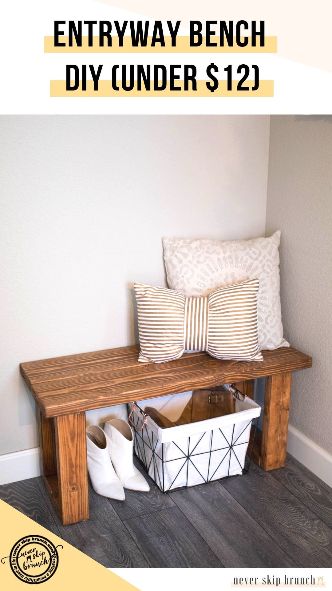 Strange Make This Gorgeous Diy Entryway Bench For Under 12 Never Machost Co Dining Chair Design Ideas Machostcouk